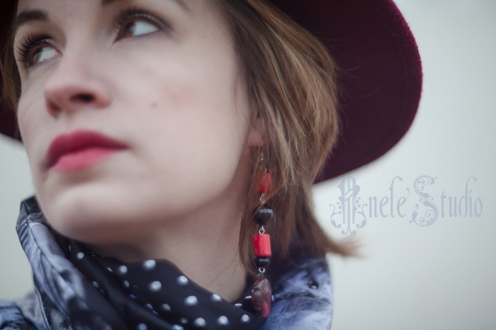 Серьги Асимметрия. Red&Black