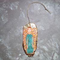 Ангел из керамики бирюзово-оранжевый