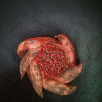 Пепельница из керамики. Красная лава